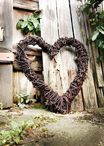 großes Deko-Herz aus Naturweide, rustikal, 55x60 cm