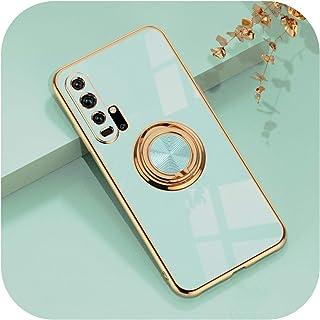 Dremy1 for Huawei for Honor 20 Pro 30 30S P30 Mate 20 for Honor2020Pro電話スタンドリングホルダーカバー用の高級メッキソフトプラスチックシリコンケース-Mint-for Hon...