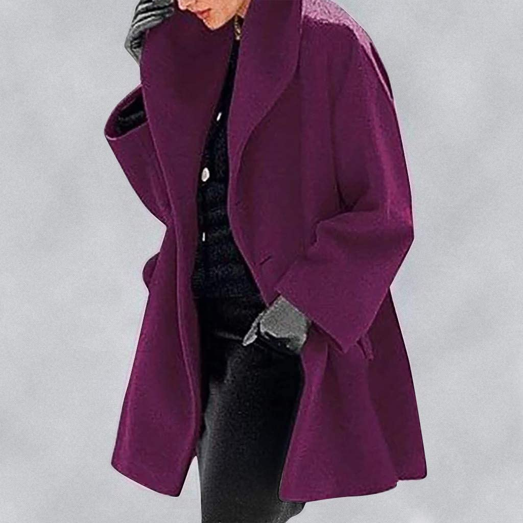 PPangUDing Damen Herbst Winter Lang Mantel Jacken Elegante Einfarbig Langarm Oversize Wintermantel Cardigan Outwear Wintermantel Outdoorjacke Funktionsjacke Outwear Lila
