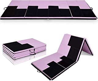 Giantex 4'x10'x2 Thick Gymnastics Mat, High Density Anti-Tear Folding Gymnastics Exercise Mats with Carrying Handles and Velcro, Lightweight Gymnastics Panel Mat, Tumbling Mat for MMA, Gymnastics, Stretching, Aerobics, Home Fitness