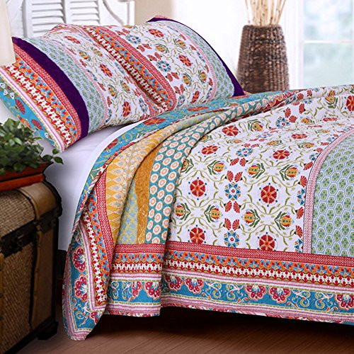 Quilt Set 100 Cotton 3 Piece with Shams King Size Reversible Retro Bohemian Style Printed with Flowers Mandala Medallion Geometric Pattern Blue Red Yellow Luxury Bedding - Includes Bed Sheet Straps
