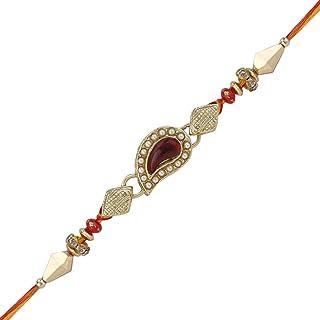 Rakhi Bracelet with Faux Stones Kundan Design for Brother Bhai Celebration of Rakshabandhan Design 1