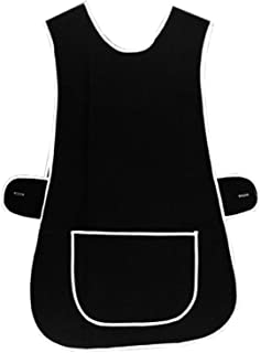 MyShoeStore Ladies Womens Tabard Home Work Kitchen Cleaning Chef Catering Cleaners Workwear Overall Piping Edge Tabbard Ap...