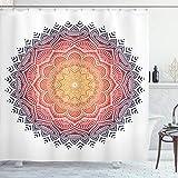 ABAKUHAUS Geometrisch Duschvorhang, Mandala Orient Herz, mit 12 Ringe Set Wasserdicht Stielvoll Modern Farbfest & Schimmel Resistent, 175x180 cm, Mehrfarbig