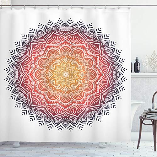 ABAKUHAUS Mandala Cortina de Baño, Mandala Orient corazón, Material Resistente al Agua Durable Estampa Digital, 175 x 200 cm, Multicolor