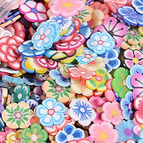 Lot de 1000 petits ongles en forme de petits ongles en 3D pour décoration artistique - Étoile/Dessin animé - Fleur, Fruits/Plume - Lot de 1000 clous - Fleur de prunier, Chine