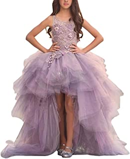 Adela Lace High Neck Pageant Dresses Ball Gown Hi-Low Appliques Kids Wedding First Communion Dress with Train AR028