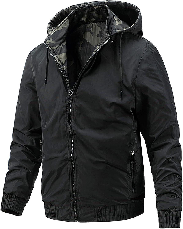 Mens Casual Both Sides Wearable Jackets Lightweight Waterproof Hooded Windbreaker Slim Fit Comfy Outdoor Travel Jackets