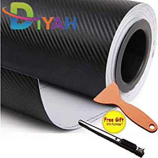 DIYAH 3D Black Carbon Fiber Film Twill Weave Vinyl Sheet Roll Wrap DIY Decals with Gift Knife and Hand Tool (24