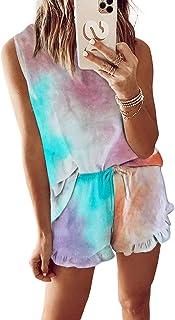 Hawiton Pijamas Mujer Verano Corto cómodo,Fresco Tie-Dye Estampado Ropa de Dormir,Mangas Corto Camiseta y Pantalones con B...