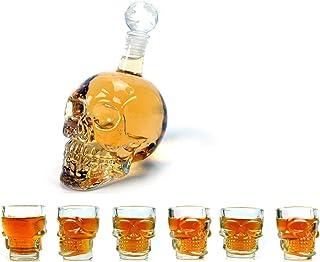 ブランデーテキーラバーボンスコッチラム用ロイヤルデカンタースカル型ガラスウイスキーとお酒デカンターギフトセット、二重壁スカルショットグラス6枚付き