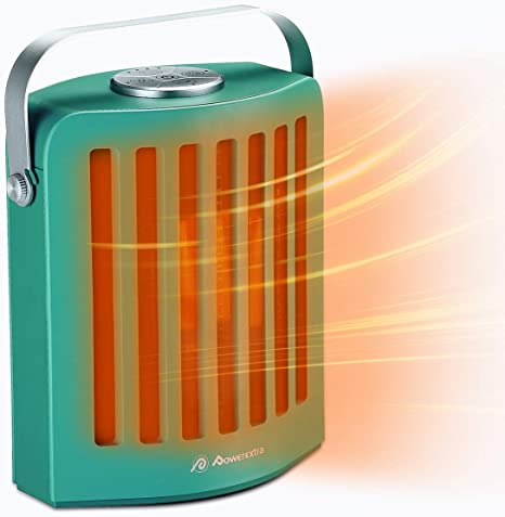 POWEREXTRA 950W Space Heater, Oscillating PTC Ceramic Heater, Fast Quiet Electronic Personal Heat, Tip Over Protection, Timer, 3 Heating Setting for Office Room Indoor Use (Green): image
