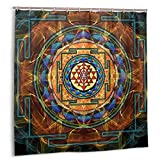 Casy Teey The Sri Yantra - Sacred Geometry Boutique Shower Curtain Hooks Polyester Home Decor 72x72inch