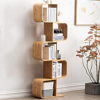 JKGHK Bibliothèques en Bois De Bambou, Rangement Design Contemporain en S, Bibliothèque De Bureau, La Maison Étagères D'or...