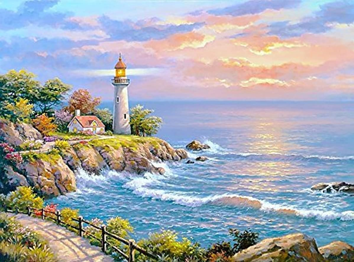 WOWDECOR Paint Numbers Kits Adults Kids, Number Painting - Harbor Lighthouse Sunlight Sea 16x20 inch (Frameless)