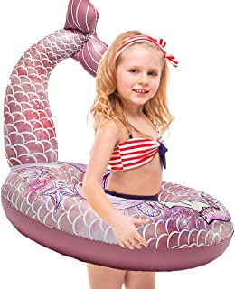 Cute Mermaid Tail Pool Float - Happytime 30 Inches Cute Mermaid Inflatable Pool Float Swimming Ring Summer Party Beach Lounge Lilos for Kids