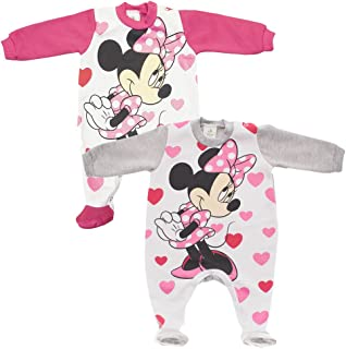 Kleines Kleid Minnie Mouse gefütterter Strampler mit Herzen