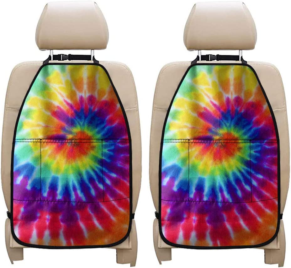 PZZ BEACH Colorful Tie Dye 2 Packs Auto Backseat Organizer Kick Mats, Car Seat Against Dirt, Mud, Scratches Protector Mats, Tribal Style Travel Accessories for Kids Babies Toddlers