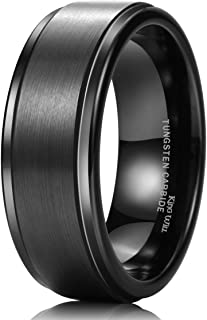 Basic 8mm Black&Silver High Polish Matte Finish Tungsten Men's Wedding Ring Comfort Fit