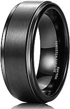 King Will Basic 8mm Black&Silver High Polish Matte Finish Tungsten Men's Wedding Ring Comfort Fit