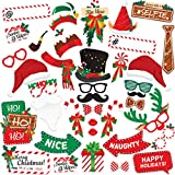 Christmas Photo Booth Props 38pc - Artist Rendered Christmas Games for Party Supplies - Picture Backdrop Decorations Set Favors - Games For Kids & Adults - Holiday Photo Booth Selfie Props Photography