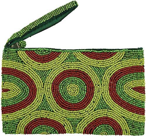 Guru-Shop Cosmetische tas met Parelmoeren Ornamenten, Unisex Adults, Groen, Size:One Size, 12x19x2 cm, Cosmetische Tassen