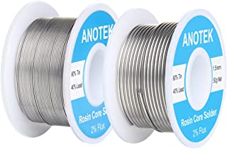 60/40 Rosin Core Solder Wire, 0.6mm and 1.5mm Tin Lead Rosin Core Solder for Stained Glass, Electronics, Gauge wires, Jewelry, Electric Toys and Models,(0.6mm and 1.5mm/ 50g)