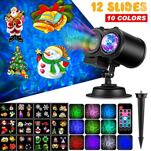 Outry Christmas Projector Lights, LED Projection Light, 2-in-1 Moving Patterns with Ocean Wave Holiday Light, Waterproof Outdoor Indoor for Halloween Xmas Theme Party Yard Garden Decorations