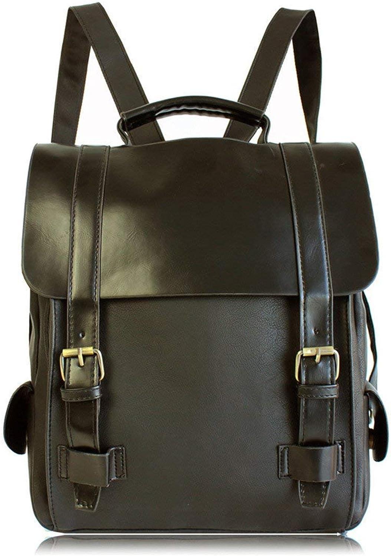 Willsego Fashion Women Leather School Vintage Backpack Men Small Schoolbag Brown Black Backpacks Kanken Sac A Dos Black (color   , Size   )