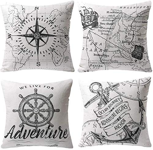 LAXEUYO Pack of 4 Cushion Covers, Compass Navigation Sailing Map Pattern Cotton Linen Decorative Throw Pillow Covers Pillow Cases for Sofa 18x18 inches