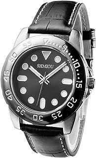 SHMIOU Montre de Sport Unisexe Bracelet en Cuir résistant à l'eau Lumineux Quartz analogique Mode Montre-Bracelet Montres