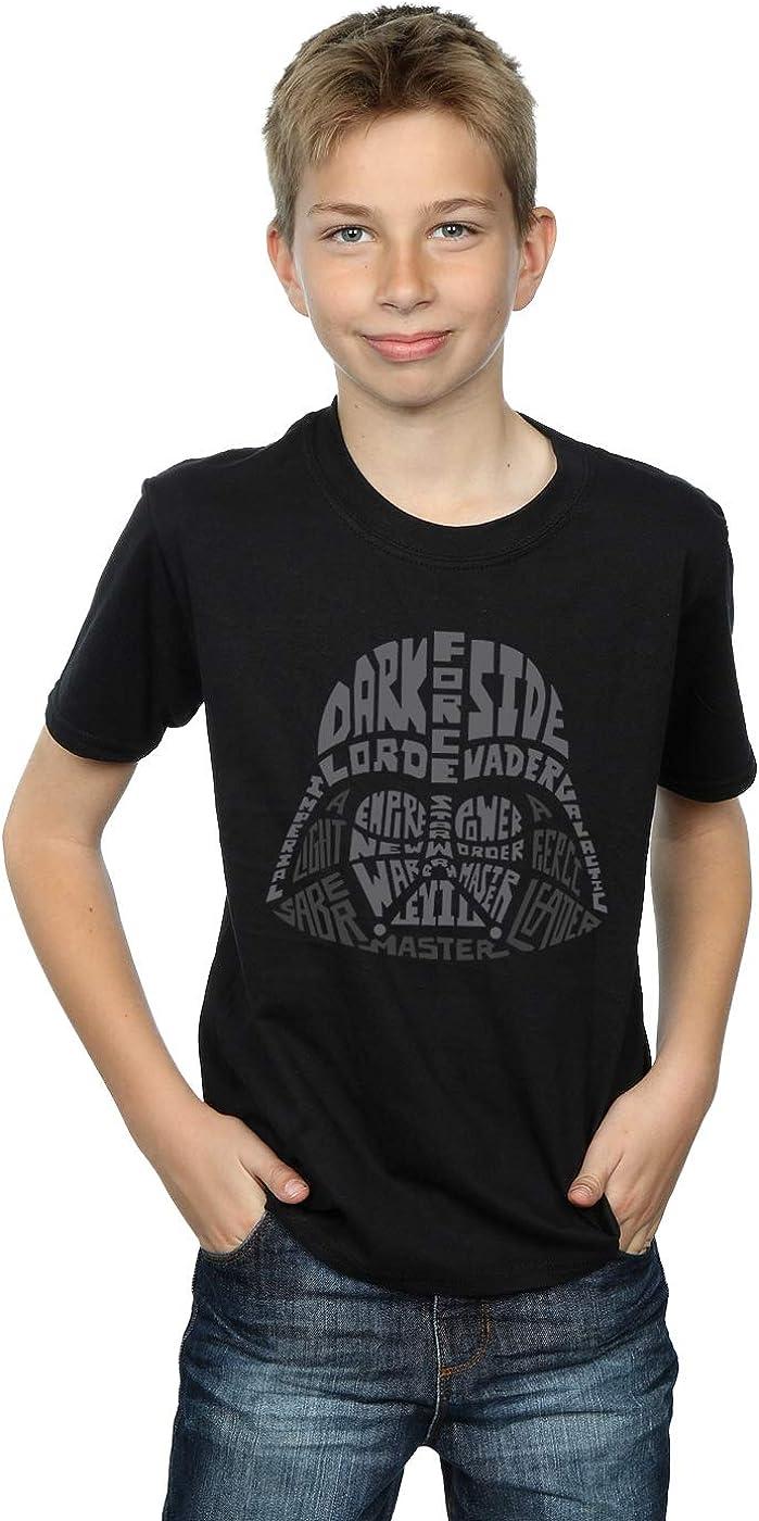 STAR WARS Boys Darth Vader Text Head T-Shirt 7-8 Years Black