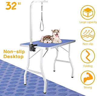"""Royale Foldable Pet Dog Grooming Table, 32"""" Portable Durable Drying Table with Non-Slip Table Top, Adjustable Height Arm&Noose for Dog or Cat (Mesh Tray)"""