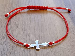 Kreuz Armband Armreif Sterling Silber 925 Rote Schnur Religiöse Charm Verstellbares
