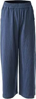 Women's Casual Elastic Waist Cotton Trouser Cropped Wide Leg Pants with Pockets