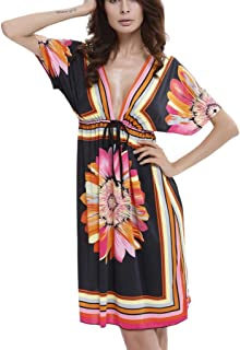 478bc6a640 HIKO23 Womens Deep V Bohemian Vintage Printed Ethnic Style Dress Cut Loose Bathing  Suit Swimsuit Cover