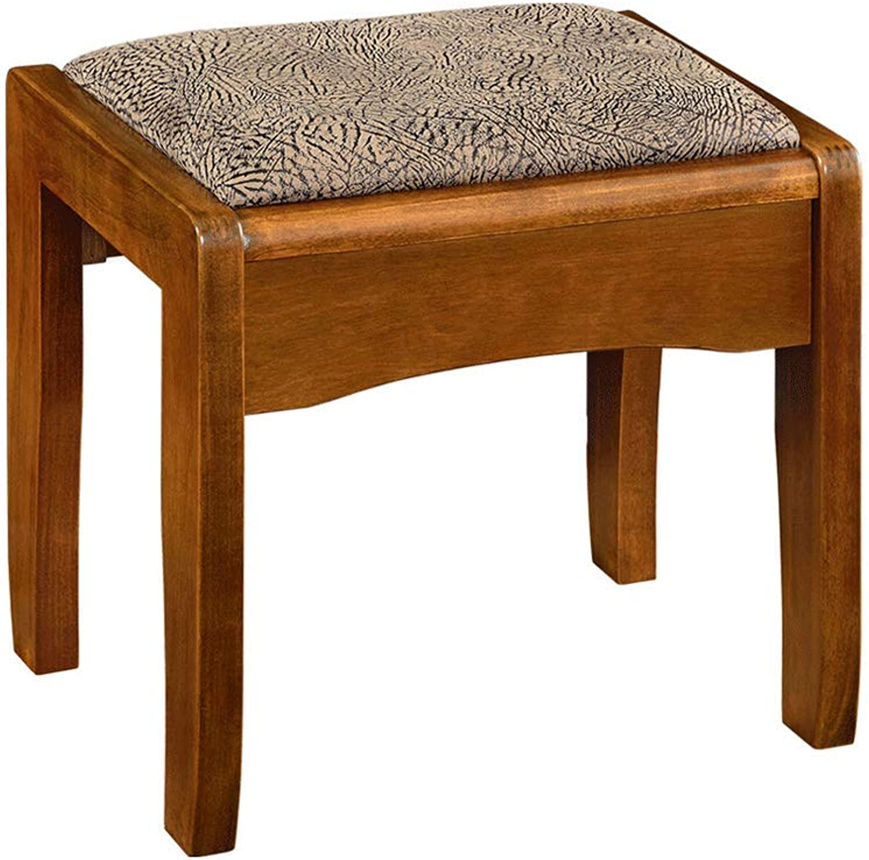 Stool Chair Solid Wood Dressing Stool Bedroom Makeup European Square Stool Simple Modern Makeup Stool (color   B)
