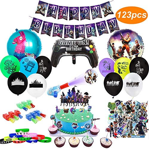 veeyiki Birthday Party Supplies for Game Fans, 123pcs Gaming Theme Party Decorations - include Balloons, Banner,Bracelets,Finger Lights,Stickers,Cake Toppers, Cupcake Toppers11