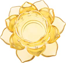 Fenteer Lotus Glass Cut Flower Candle Crystal Tealight Home Decor Candelabra - Amber, as descred
