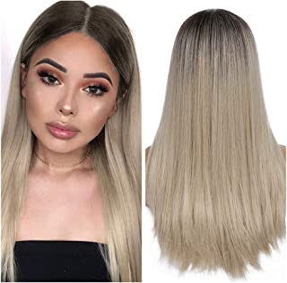 Quantum Love Ombre Ash Blonde Wigs Long Straight Daily Party Wig Glueless Heat Resistant Synthetic Middle Part Wig for Women