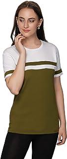 METRO-FASHION Color Block Women Round Neck T-Shirt(Green)