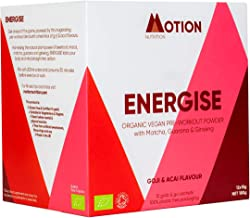 Energise Organic Pre Workout Powder Goji Acai Flavour with Matcha Guarana Ginseng Maca and Beetroot 100 Vegan Contains 12 x 15g Servings Estimated Price : £ 24,95