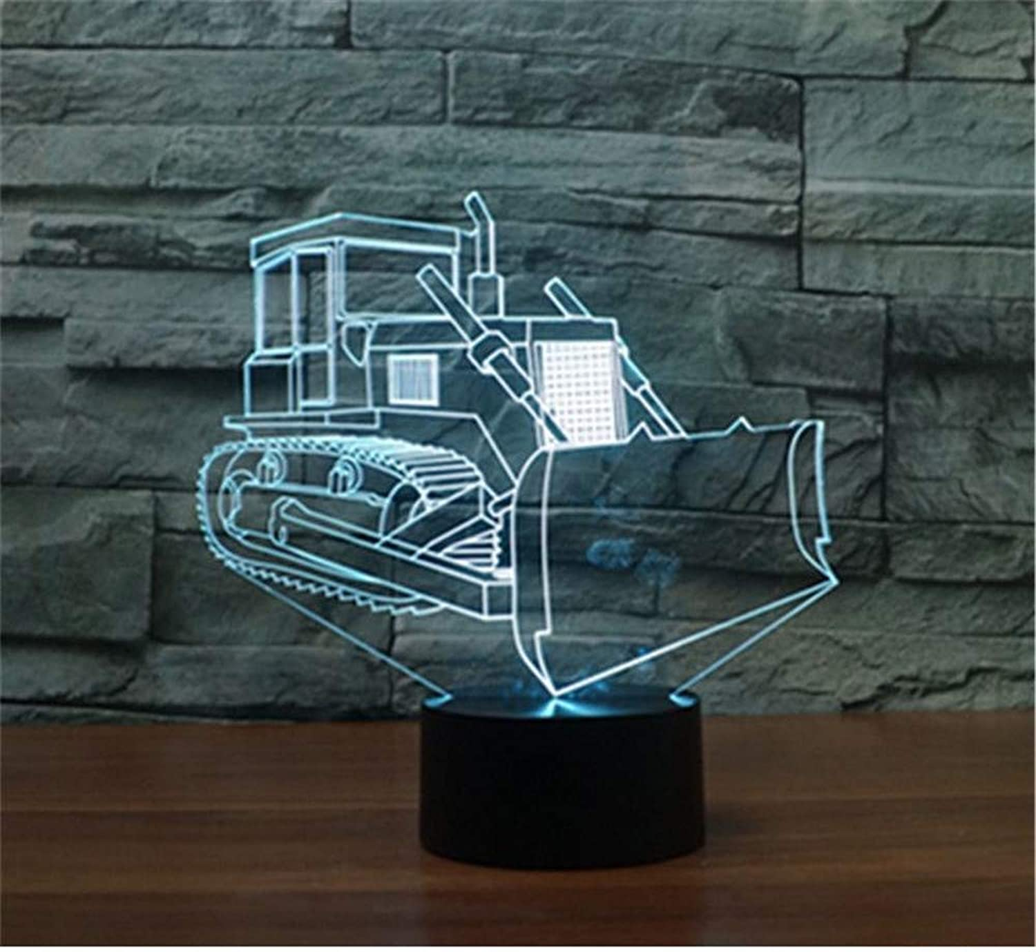 3D LED Night Light Table Desk Lamps 3D Optical Illusion Visual Lamp 7 colors Touch Table Desk Lamp for Christmas Birthday Gift Bulldozer