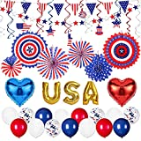 Decorlife 4th of July Decorations Set, Patriotic Party Decor Includes Red White and Blue Pre-strung Banners, Hanging Paper Fans and Swirls, USA Balloons, Pennant Bunting, Star Garlands, Total 41PCS