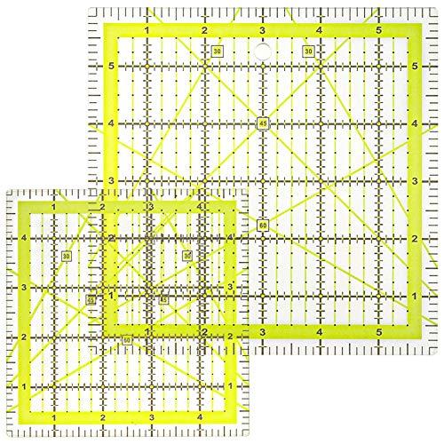 metagio 2 Stücke Quiltlineal Schneiderlineal Acryl Patchwork Lineal, Quiltlineal mit Gitterlinie mit exakten Abmessungen und Zuschnitten, DIY Hand Nählineal für Patchwork und zum Basteln