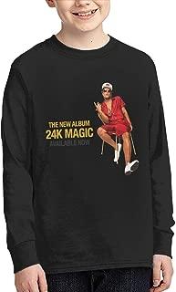 Bruno Mars 24K Magic Teen Youth Boys and Girls Print Casual Long-Sleeved Round Collar T-Shirt Black