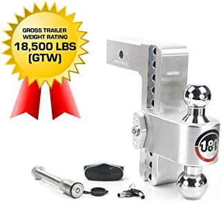 "Weigh Safe 180 HITCH CTB8-2.5-KA 8"" Drop Hitch, 2.5"" Receiver 18,500 LBS GTW - Adjustable Aluminum Trailer Hitch Ball Moun..."
