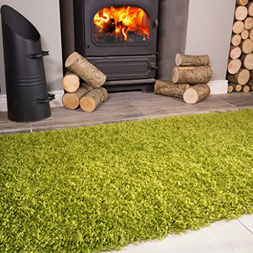 Ontario Fern Green Fireside Fireplace Mantelpiece Hearth Shaggy Shag Fluffy Living Room Area Rug