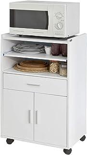 SoBuy Aparador Auxiliar bajo de Cocina para microondascon 2 Puertas y 1 cajónL59 cm x P40 cm x H92 cmFSB09-WES