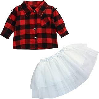 Baby Girls 2Pcs Dress Set Button Down Plaid Flannel T-Shirt + Sweet Tutu Skirts Christmas Clothes Set …